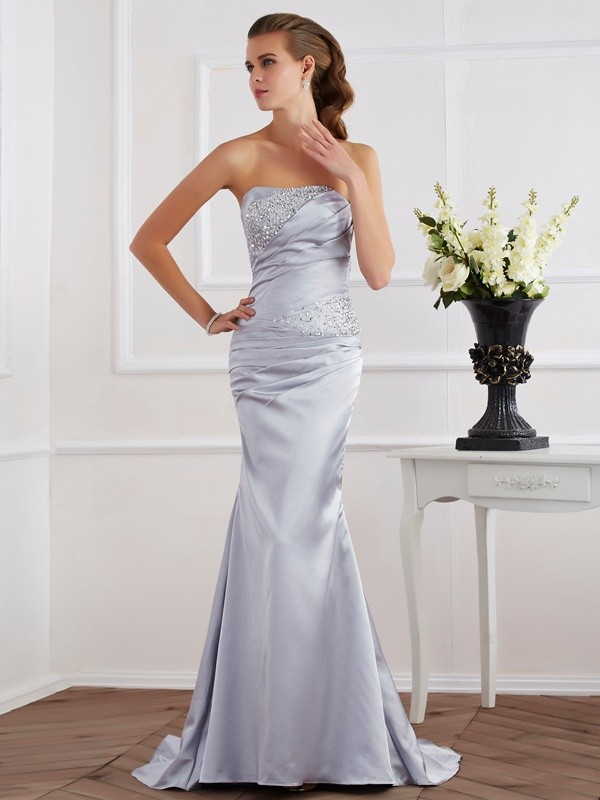 Mermaid Elastic Woven Satin Strapless Sleeveless Sweep/Brush Train With Beading Dresses