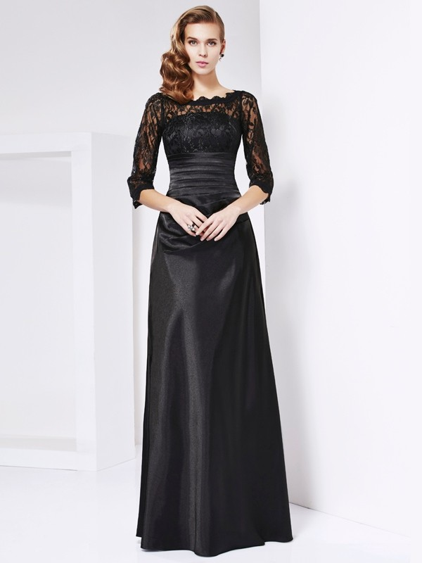 Sheath Elastic Woven Satin Off-the-Shoulder 3/4 Sleeves Floor-Length With Lace Mother of the Bride Dresses