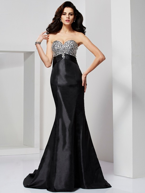 Mermaid Taffeta Sweetheart Sleeveless Sweep/Brush Train With Beading Dresses