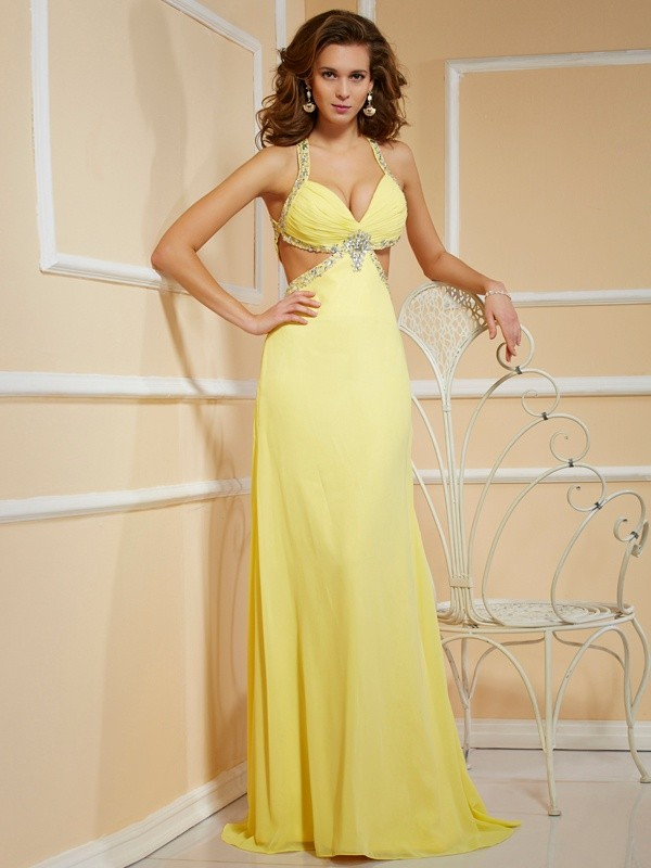 Sheath Chiffon Spaghetti Straps Sleeveless Floor-Length With Beading Dresses
