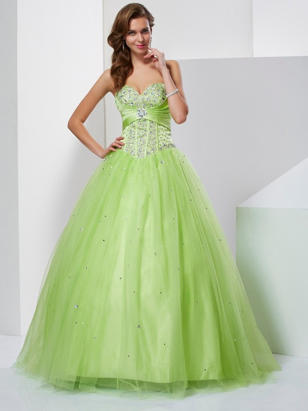 ee6ae8af6da Ball Gown Tulle Sweetheart Sleeveless Floor-Length With Beading Quinceanera  Dresses