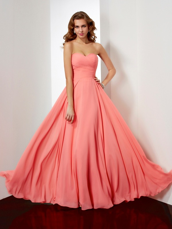 A-Line Chiffon Sweetheart Sleeveless Floor-Length With Pleats Dresses