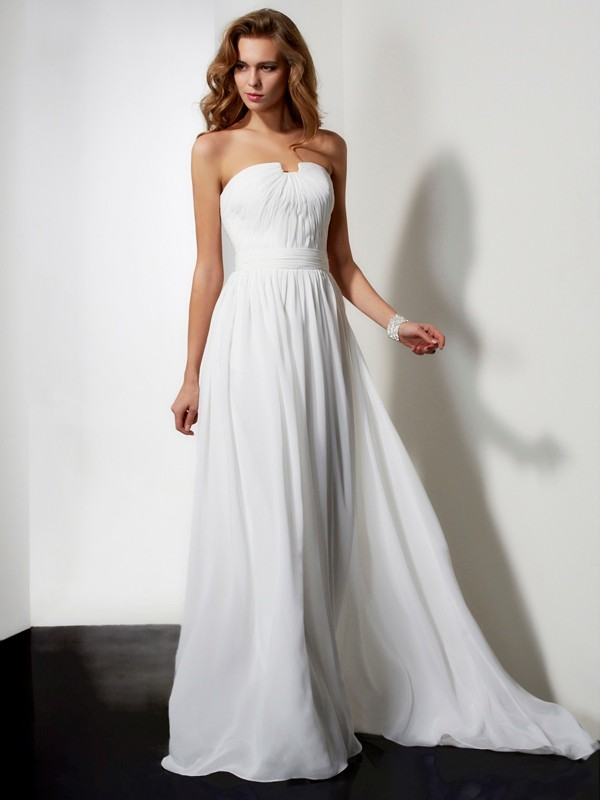 A-Line Chiffon Strapless Sleeveless Floor-Length With Ruffles Dresses