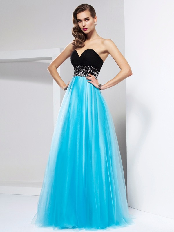 A-Line Net Sweetheart Sleeveless Floor-Length With Sash/Ribbon/Belt Dresses