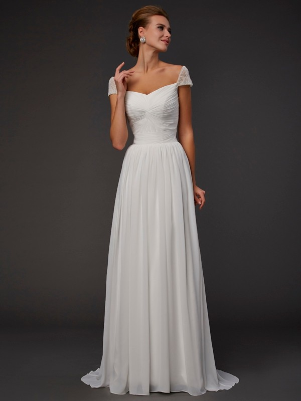 A-Line Chiffon Sweetheart Short Sleeves Sweep/Brush Train With Beading Dresses