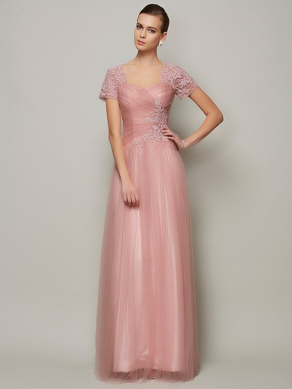A-Line Satin Sweetheart Short Sleeves Floor-Length With Beading Dresses