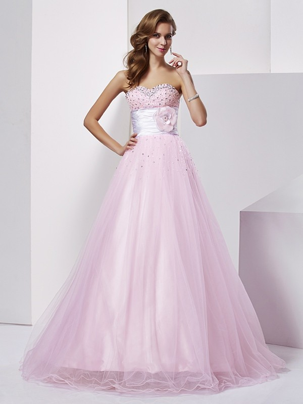 Ball Gown Elastic Woven Satin Strapless Sleeveless Floor-Length With Beading Quinceanera Dresses