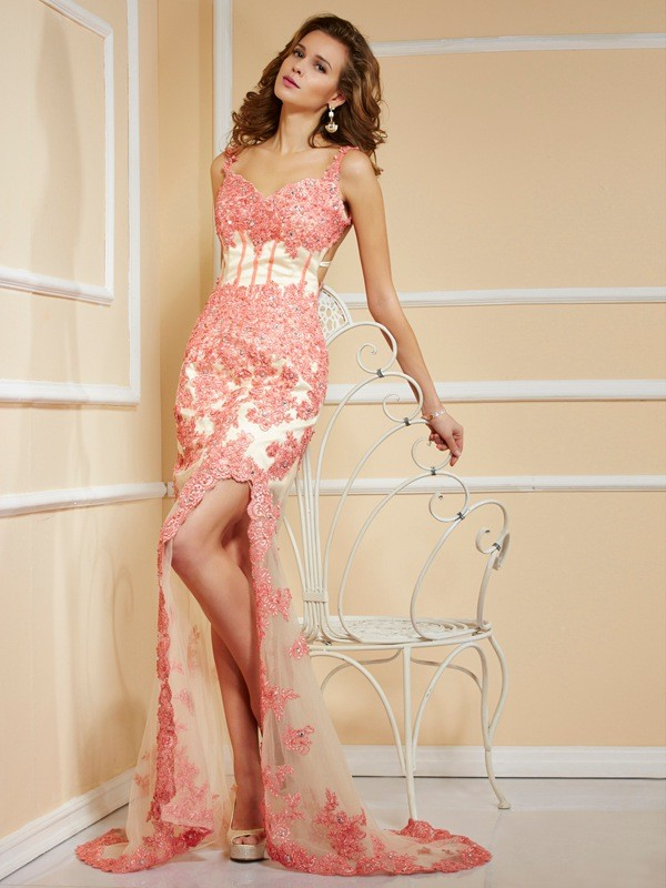Sheath Net Straps Sleeveless Sweep/Brush Train With Applique Dresses