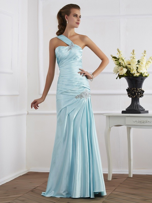 Mermaid Elastic Woven Satin One-Shoulder Sleeveless Floor-Length With Ruched Dresses