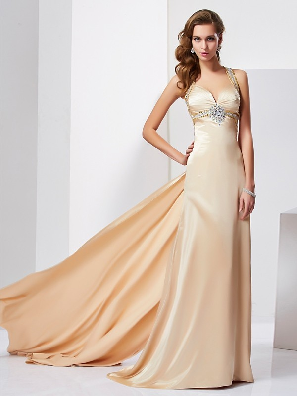 Sheath Silk like Satin Halter Sleeveless Sweep/Brush Train With Ruffles Dresses