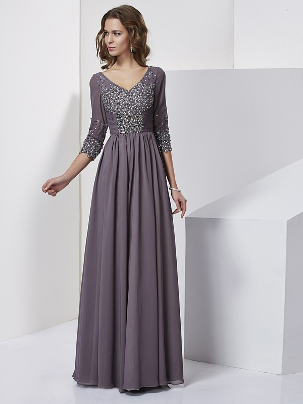 Sheath Chiffon V-neck 3/4 Sleeves Floor-Length With Beading Dresses