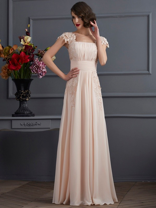 A-Line Chiffon Square Short Sleeves Floor-Length With Lace Dresses