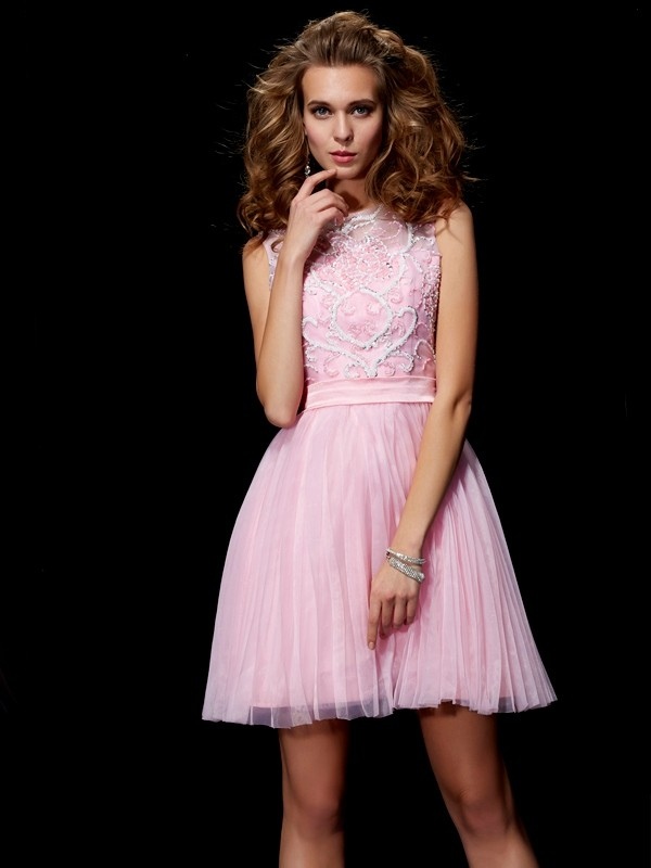 A-Line Elastic Woven Satin Scoop Sleeveless Short/Mini With Beading Homecoming Dresses