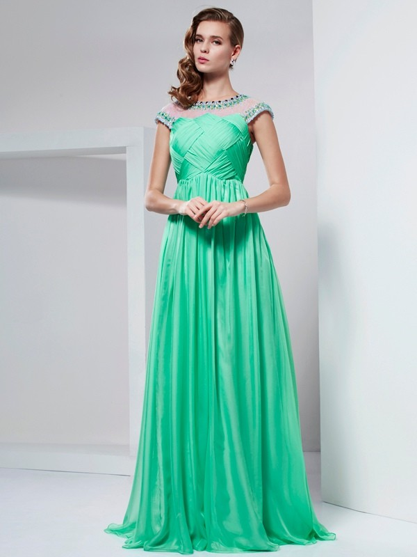 A-Line Chiffon High Neck Short Sleeves Floor-Length With Beading Dresses