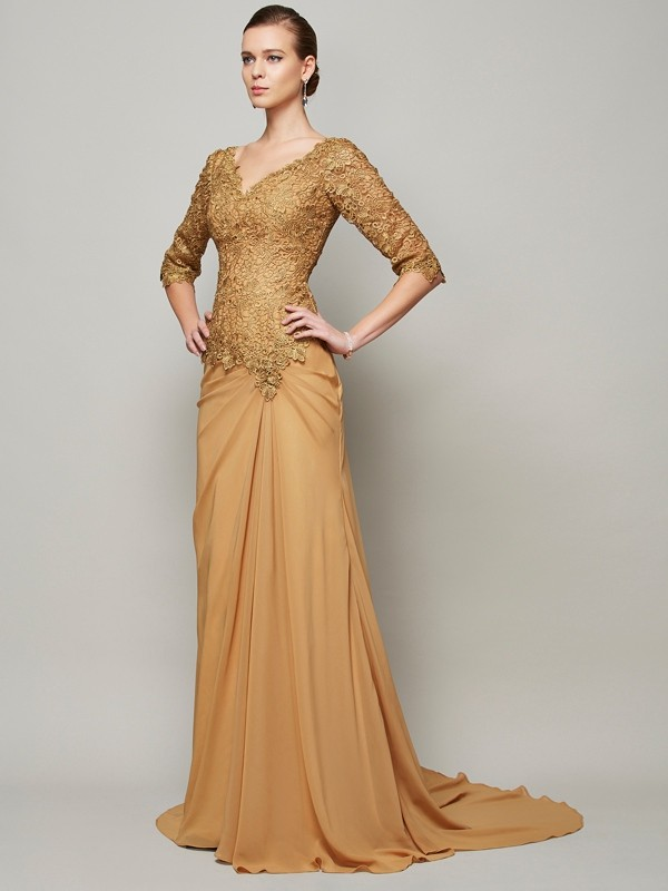 Sheath Chiffon V-neck 1/2 Sleeves Floor-Length With Lace Dresses