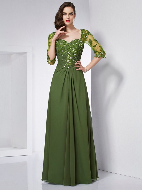 A-Line Chiffon Sweetheart 3/4 Sleeves Floor-Length With Beading Dresses