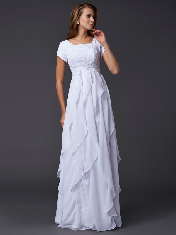 Sheath Chiffon Square Short Sleeves Floor-Length With Ruffles Dresses