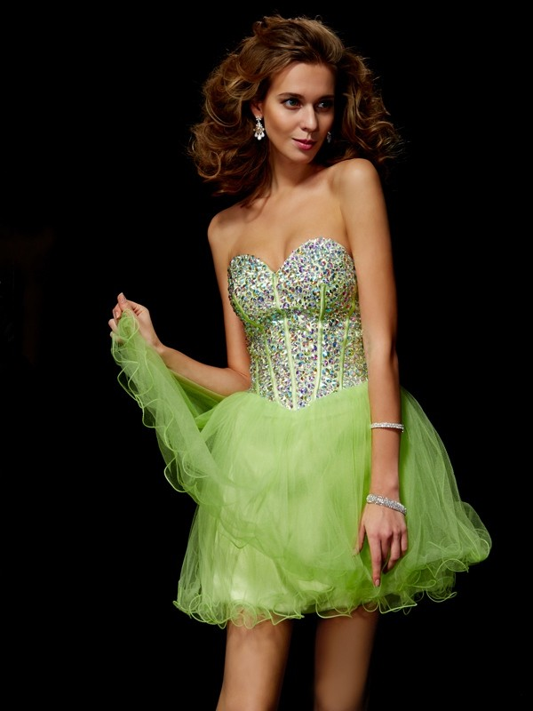 A-Line Elastic Woven Satin Sweetheart Sleeveless Short/Mini With Beading Homecoming Dresses