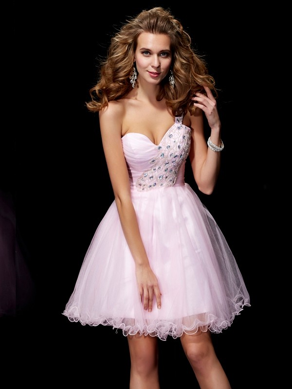A-Line Elastic Woven Satin One-Shoulder Sleeveless Short/Mini With Beading Homecoming Dresses