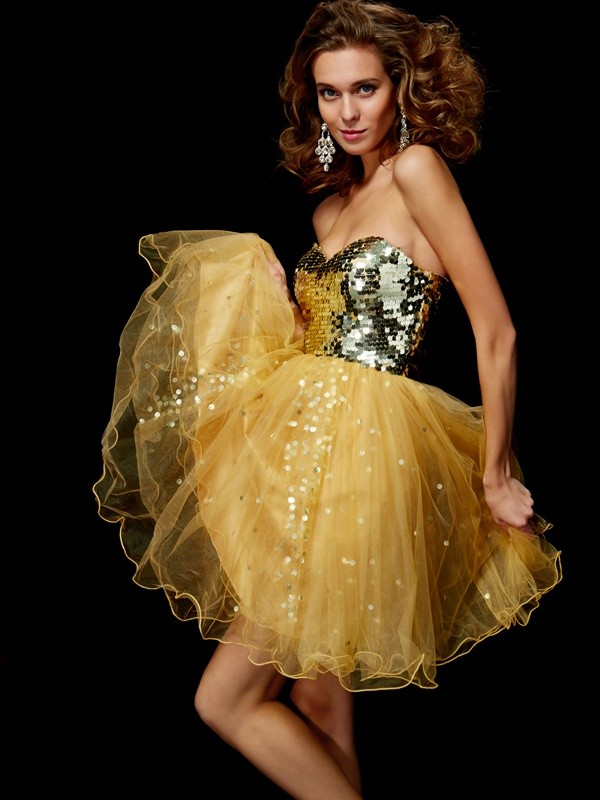 A-Line Tulle Sweetheart Sleeveless Short/Mini With Paillette Homecoming Dresses