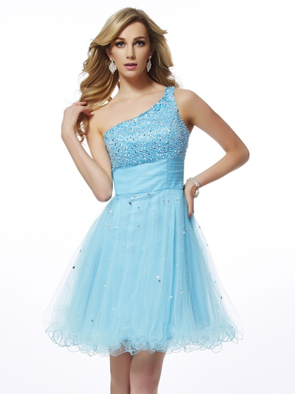 A-Line Organza One-Shoulder Sleeveless Short/Mini With Beading Homecoming Dresses