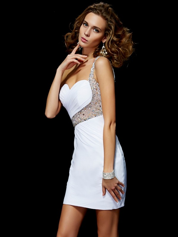 A-Line Chiffon One-Shoulder Sleeveless Short/Mini With Sequin Homecoming Dresses
