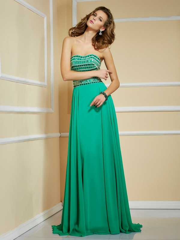 A-Line Chiffon Strapless Sleeveless Sweep/Brush Train With Rhinestone Dresses