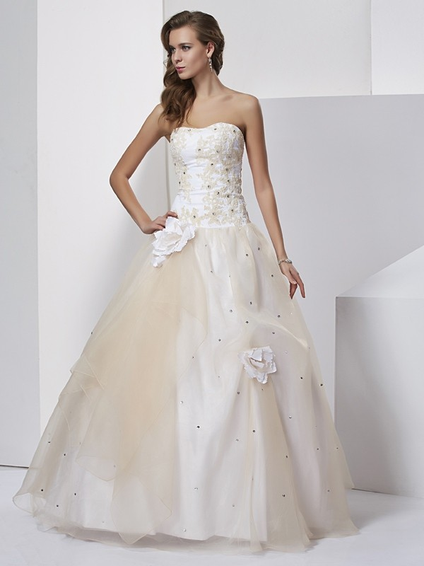 Ball Gown Tulle Sweetheart Sleeveless Floor-Length With Hand-Made Flower Quinceanera Dresses