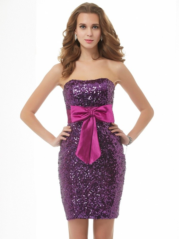 A-Line Organza Strapless Sleeveless Short/Mini With Bowknot Homecoming Dresses