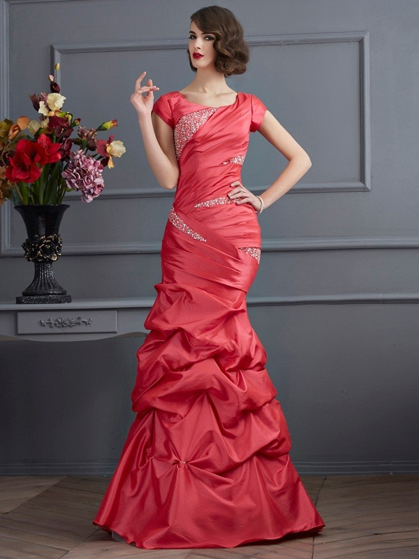 Mermaid Taffeta Scoop Short Sleeves Floor-Length With Beading Dresses