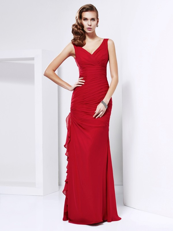 Sheath Chiffon V-neck Sleeveless Floor-Length With Ruched Dresses