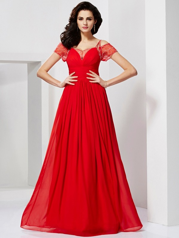 A-Line Chiffon Spaghetti Straps Short Sleeves Floor-Length With Beading Dresses