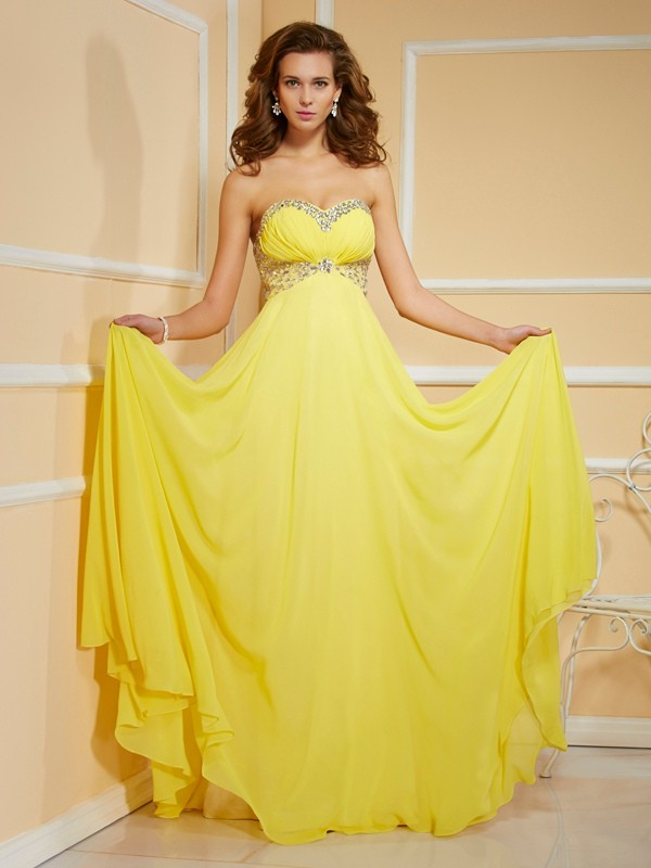 Sheath Chiffon Sweetheart Sleeveless Floor-Length With Ruffles Dresses