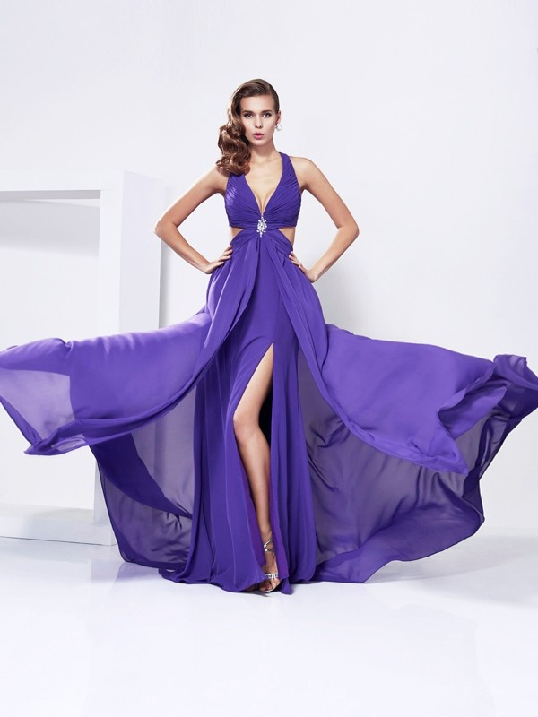 A-Line Chiffon V-neck Sleeveless Sweep/Brush Train With Rhinestone Dresses