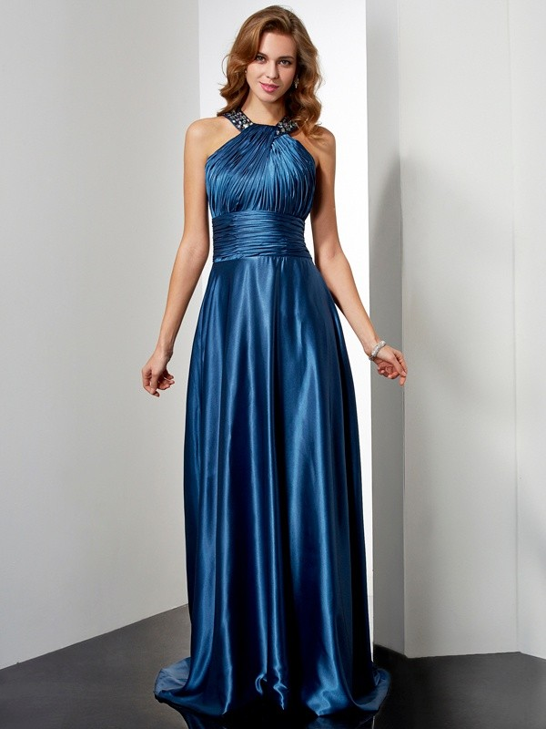 A-Line Elastic Woven Satin Halter Sleeveless Floor-Length With Beading Dresses