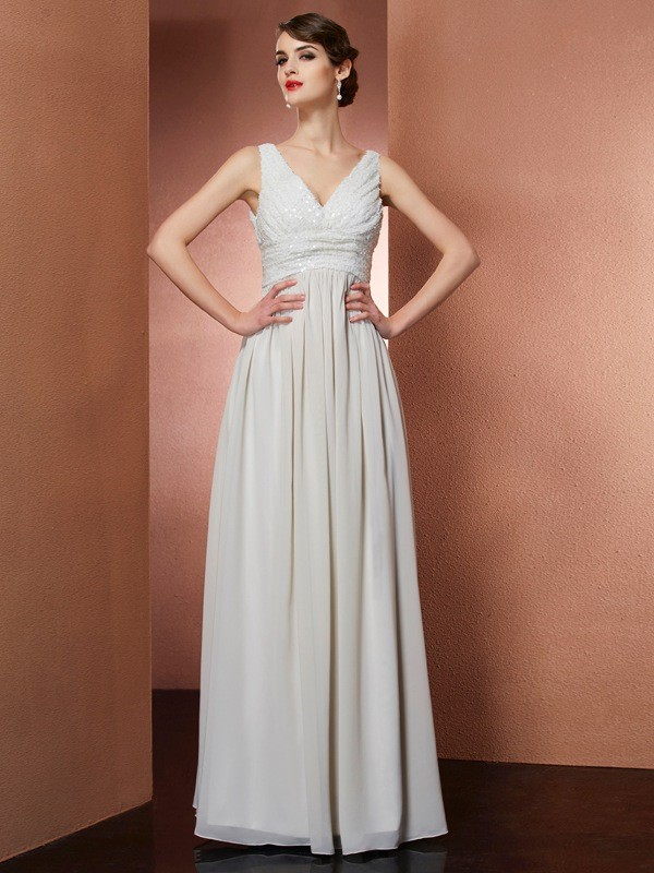 A-Line Chiffon V-neck Sleeveless Floor-Length With Ruched Dresses
