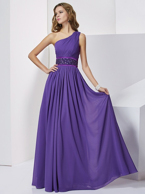 Empire Chiffon One-Shoulder Sleeveless Floor-Length With Beading Dresses