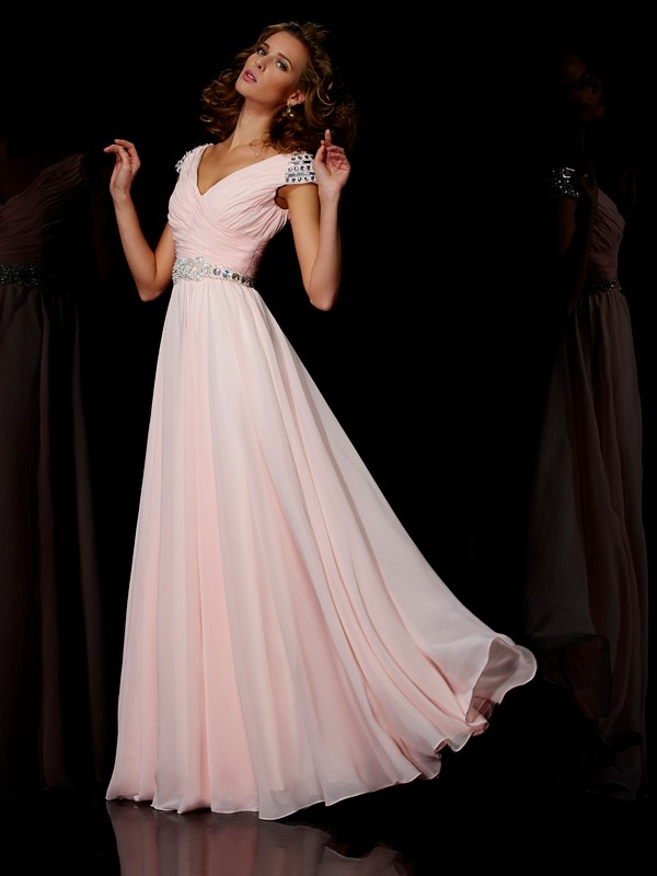 A-Line Chiffon V-neck Short Sleeves Floor-Length With Ruffles Dresses