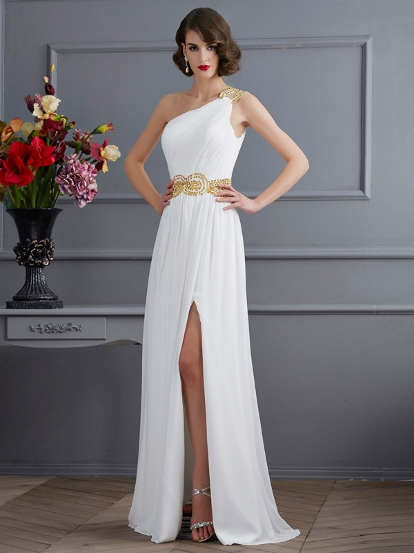 A-Line Chiffon One-Shoulder Sleeveless Sweep/Brush Train With Ruched Dresses
