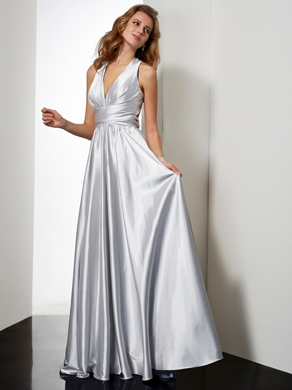 Sheath Elastic Woven Satin Halter Sleeveless Floor-Length With Pleats Dresses