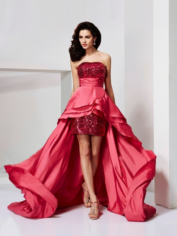 A-Line Taffeta Strapless Sleeveless Asymmetrical With Lace Dresses