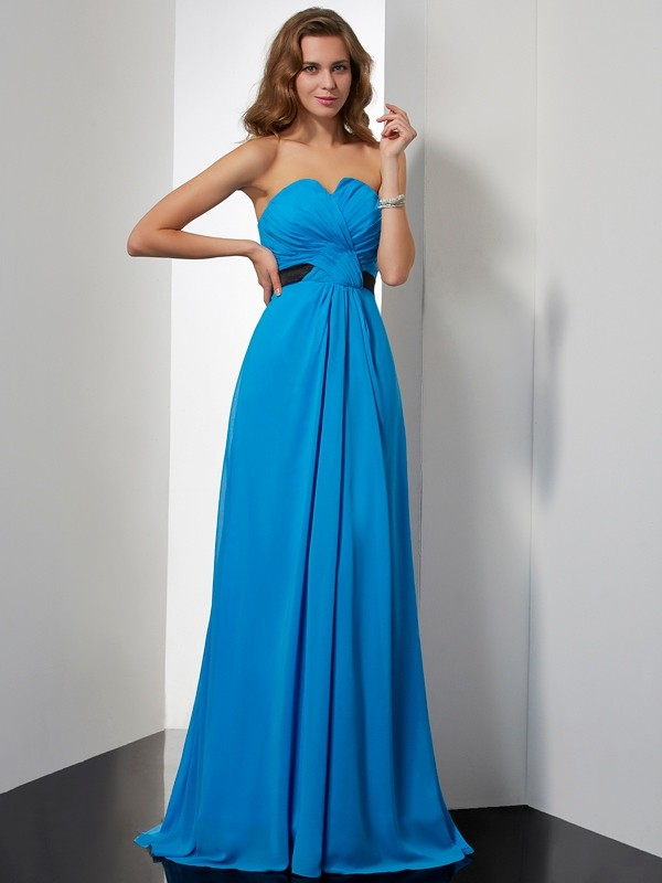 A-Line Chiffon Sweetheart Sleeveless Sweep/Brush Train With Sash/Ribbon/Belt Dresses