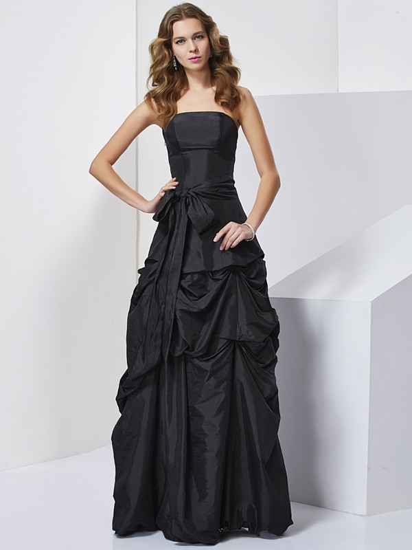 Sheath Taffeta Strapless Sleeveless Floor-Length With Bowknot Dresses