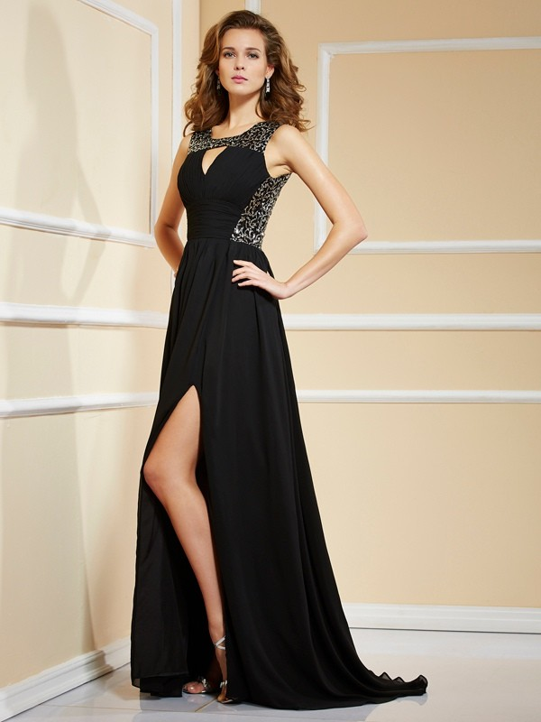 A-Line Chiffon High Neck Sleeveless Sweep/Brush Train With Lace Dresses