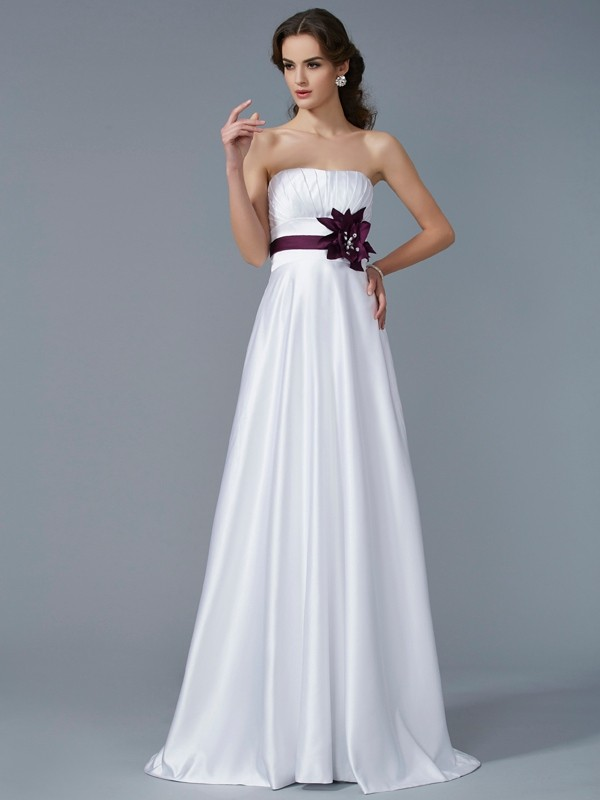 A-Line Satin Strapless Sleeveless Sweep/Brush Train With Hand-Made Flower Dresses