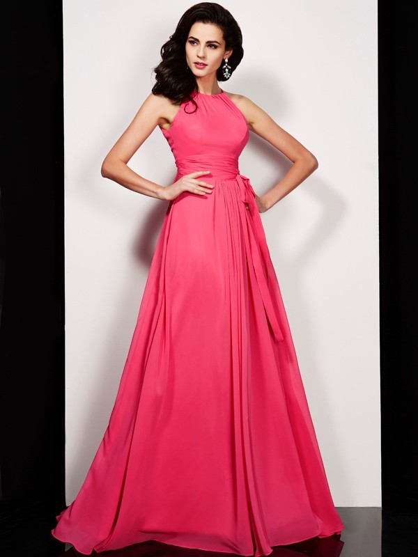 A-Line Chiffon High Neck Sleeveless Floor-Length With Sash/Ribbon/Belt Dresses