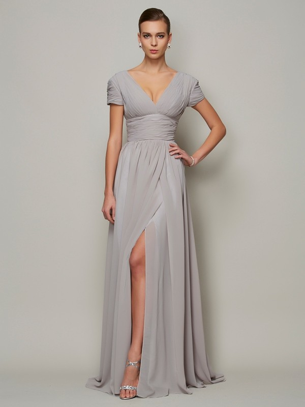 A-Line Chiffon V-neck Short Sleeves Floor-Length With Ruched Mother of the Bride Dresses