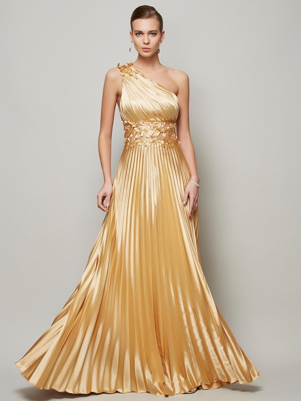 A-Line Elastic Woven Satin One-Shoulder Sleeveless Floor-Length With Hand-Made Flower Dresses