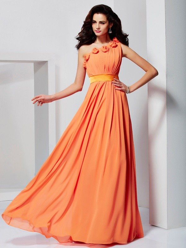 A-Line Chiffon One-Shoulder Sleeveless Floor-Length With Hand-Made Flower Dresses