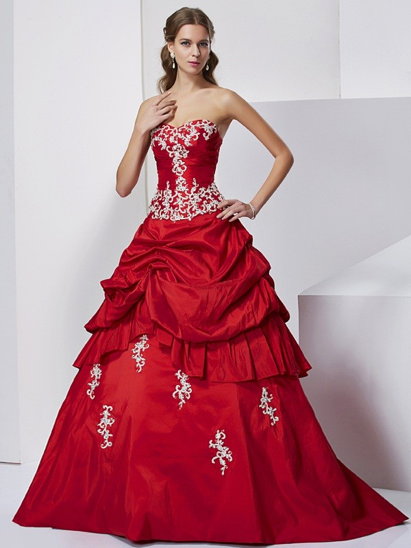 Ball Gown Taffeta Sweetheart Sleeveless Floor-Length With Beading Quinceanera Dresses